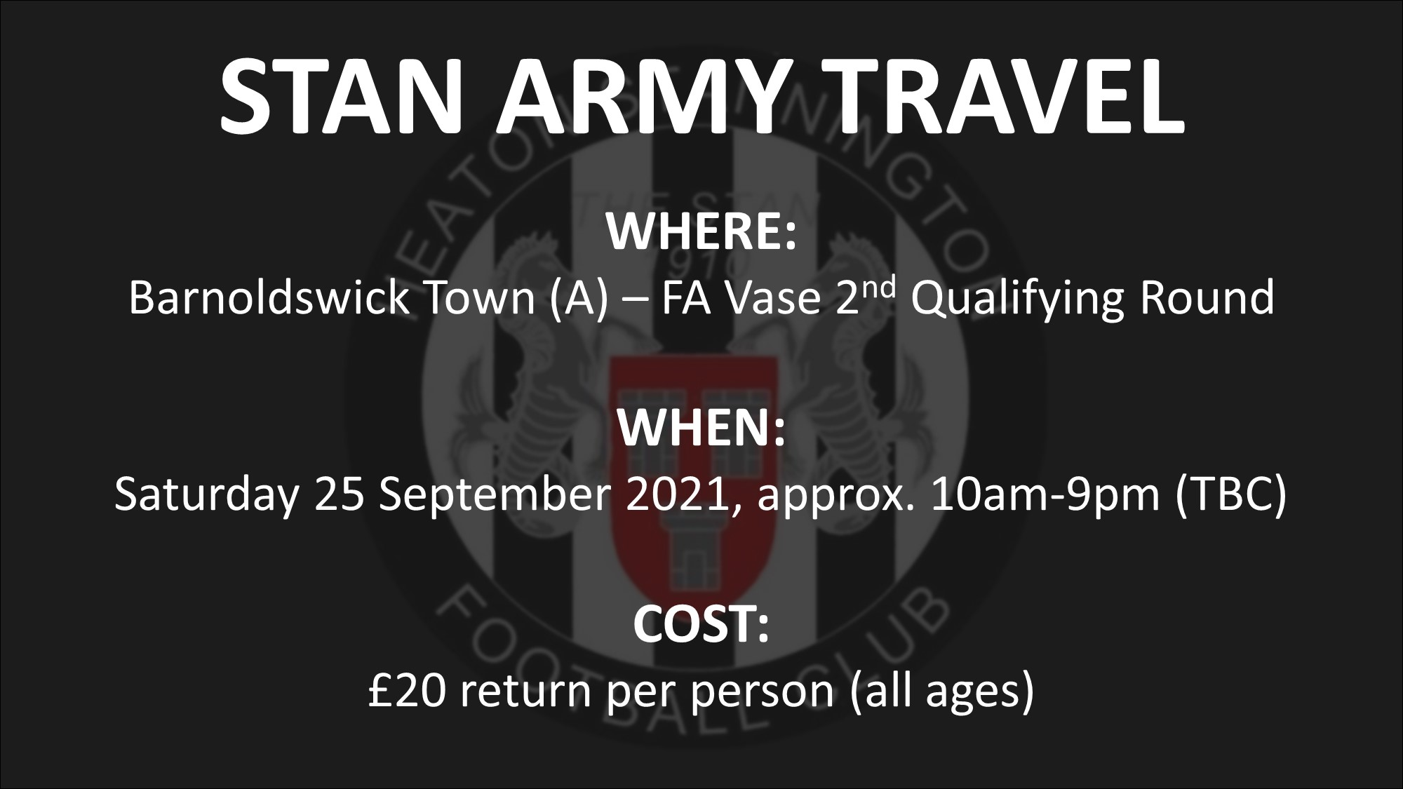 Stan Army Travel – Barnoldswick Town away